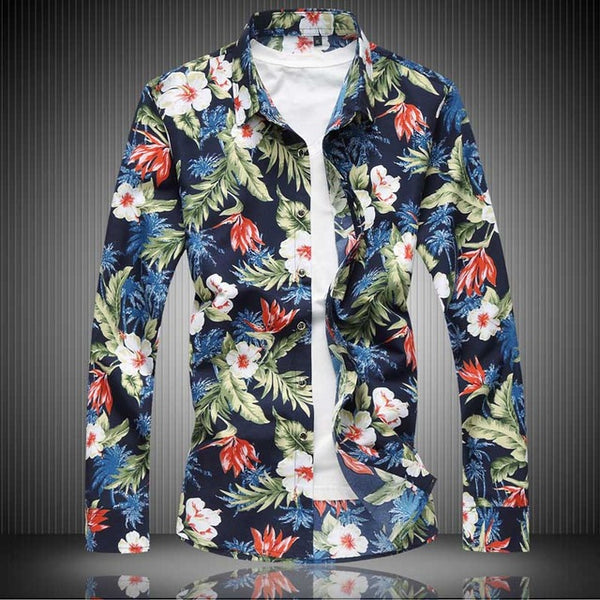 Flower Print Long Sleeve Casual Shirt (CLM) - Clothing Deals Online