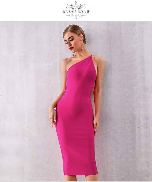 One Shoulder Sexy Dress (5392) - Clothing Deals Online