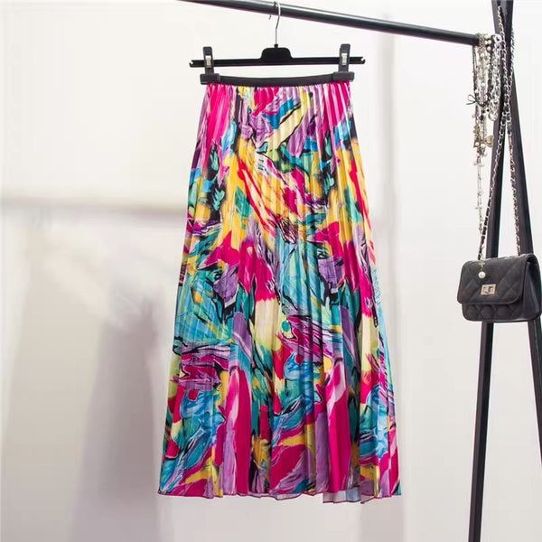 Floral Pattern Pleated A-Line Mid-Calf Skirt (940) - Clothing Deals Online
