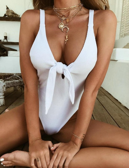 Solid Color Deep V-Neck Knotted Monokini (8012) - Clothing Deals Online