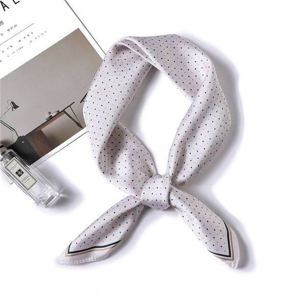 Polka Dots Print Small Silk Scarf (5151) - Clothing Deals Online