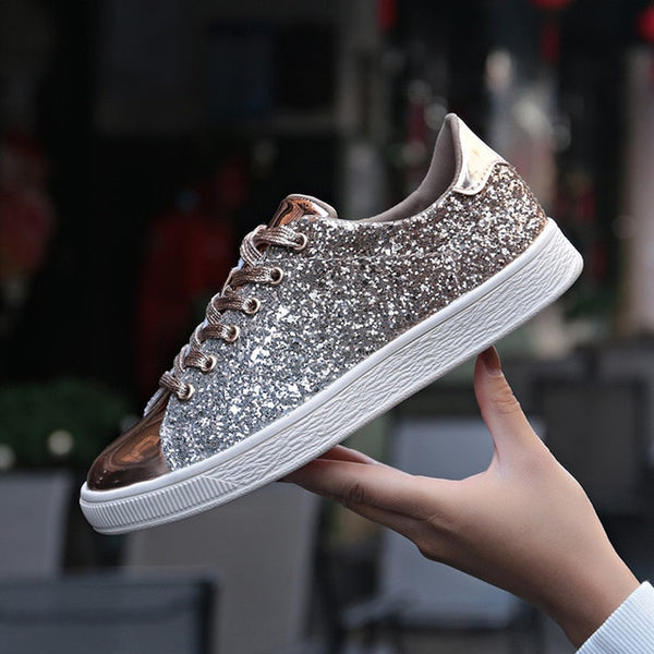 Gold Glitter Sneakers (811) - Clothing Deals Online