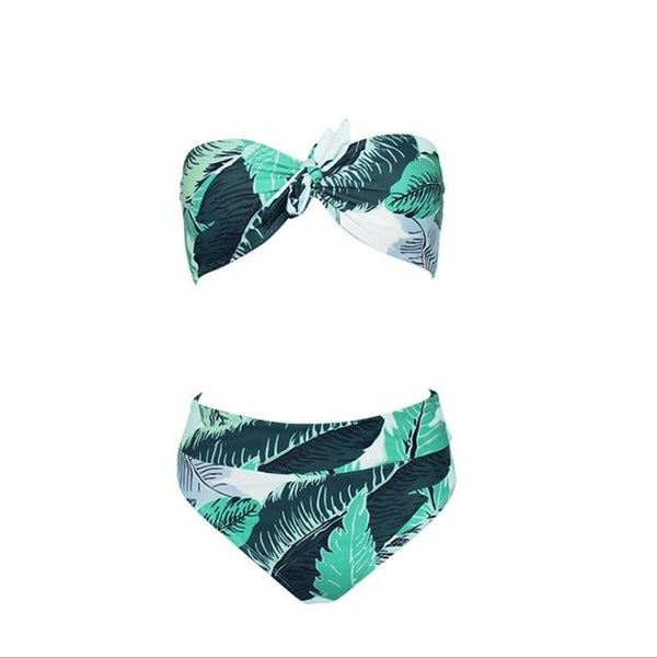 Leaves Print Padded Bow Bikini Set (1925) - Clothing Deals Online