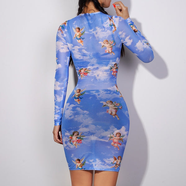 Angel Print Long Sleeve Short Dress (S185) - Clothing Deals Online
