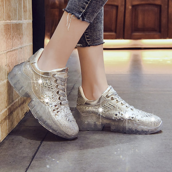 Breathable Platform Sneakers With Crystals (1751) - Clothing Deals Online
