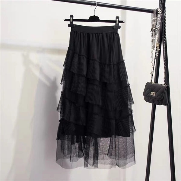 Irregular Ruffle Mesh Mid-Calf Lace Skirt (0006) - Clothing Deals Online
