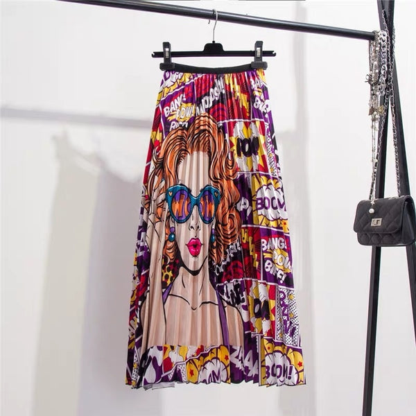Elastic Printed Pleated A-Line Skirt (0011) - Clothing Deals Online