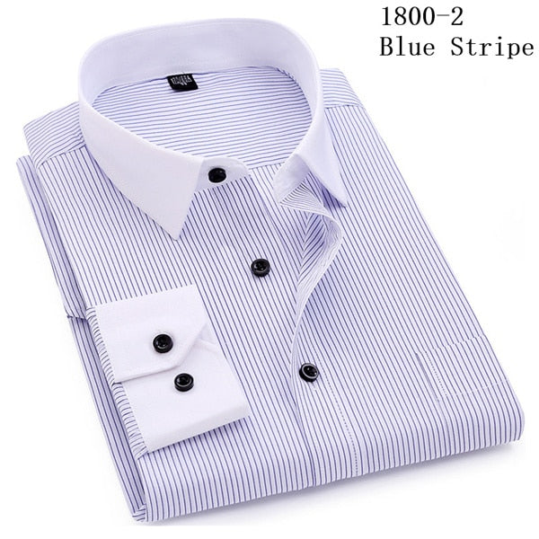Striped Regular Fit Business Casual Dress Shirt Long Sleeve (QSH) - Clothing Deals Online