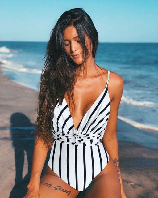 Deep V One Piece Swimsuit (SPKOBL) - Clothing Deals Online