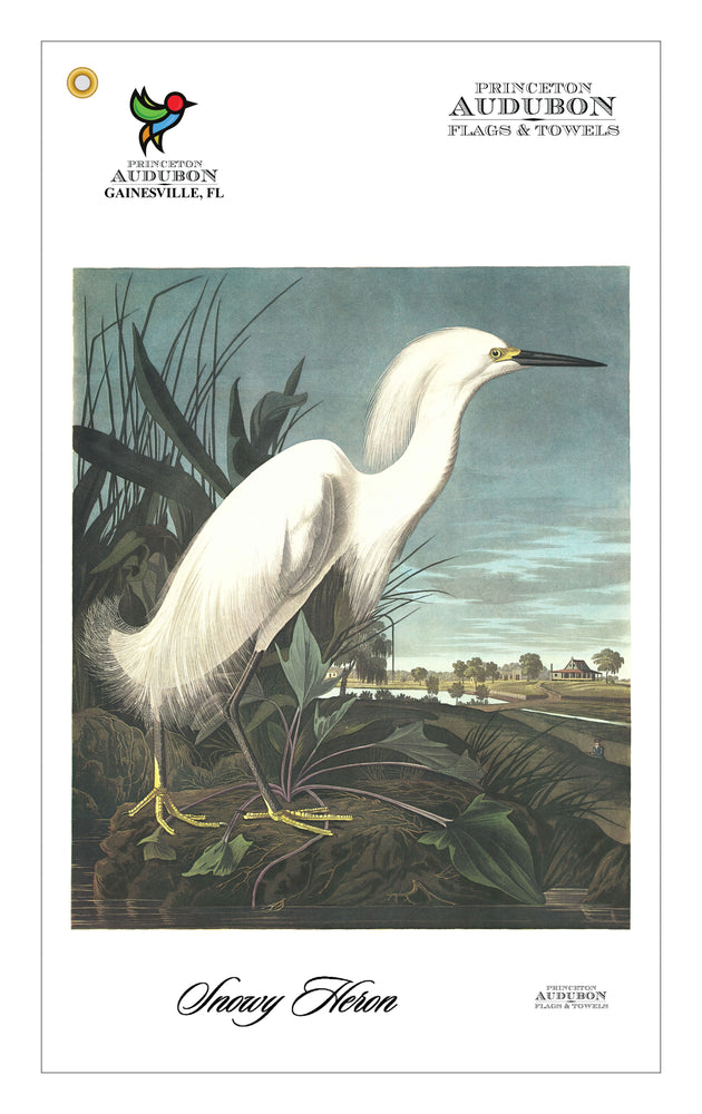 Golf Bag Towel Snowy Heron