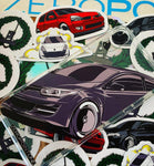ZeroPointOne ZPO Stickers - Renault Ford Comic Car Art