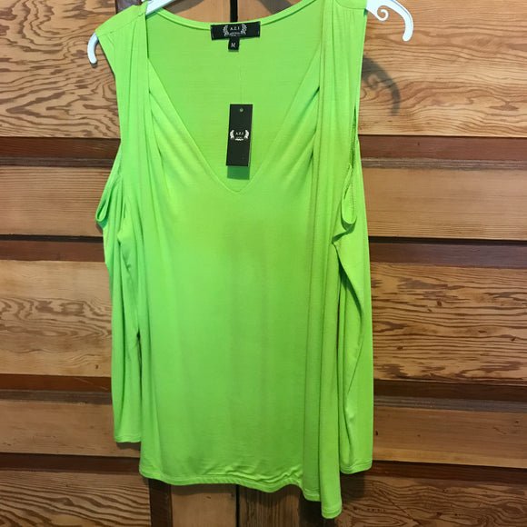 Top-Cold Shoulder Lime Long Sleeve