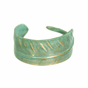 Green Feather Cuff Bracelet