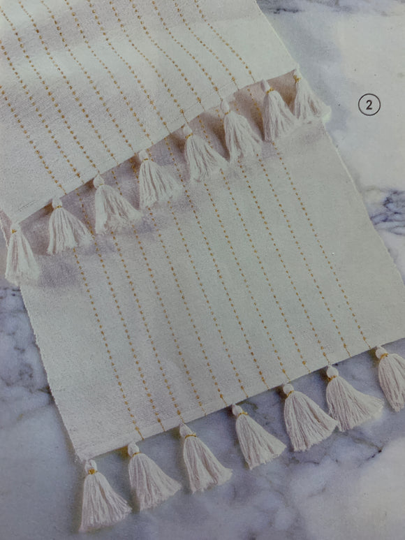 Gold & White Tassel Striped Cotton Runner