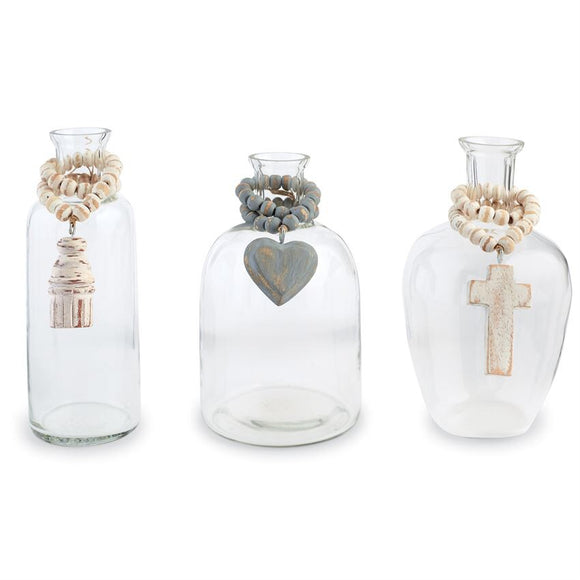 Glass Bead Vase / Jar - Cross, Heart, or Tassel