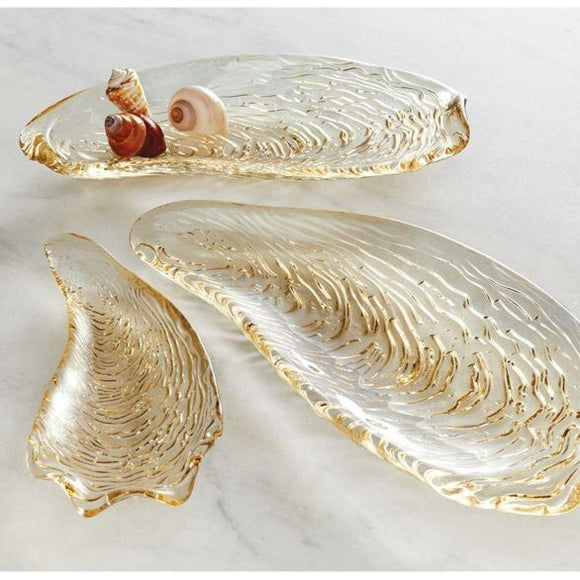 Glass Gold Metallic Oyster Plate Dish Tray
