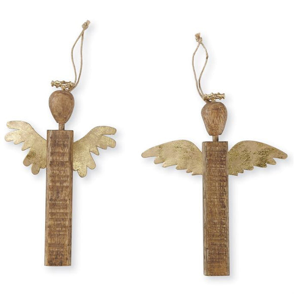 Wood & Gold Tin Angel Ornament