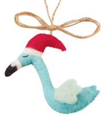 Blue Felt Flamingo