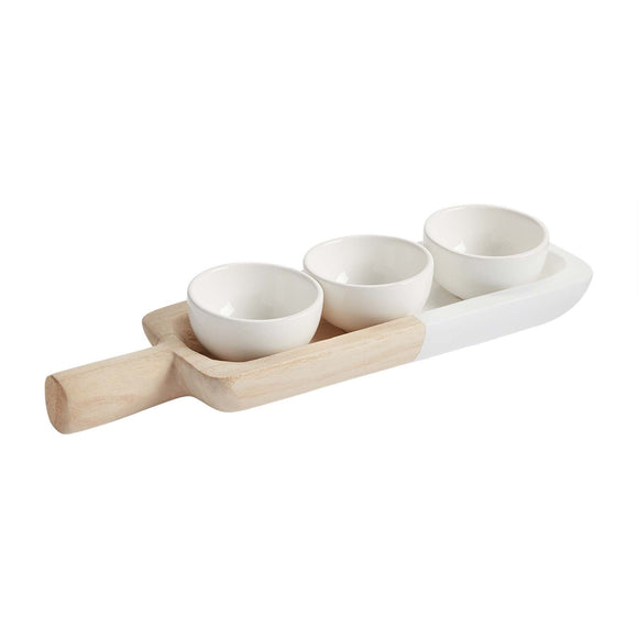 Wood Tray & Ceramic Bowl Set