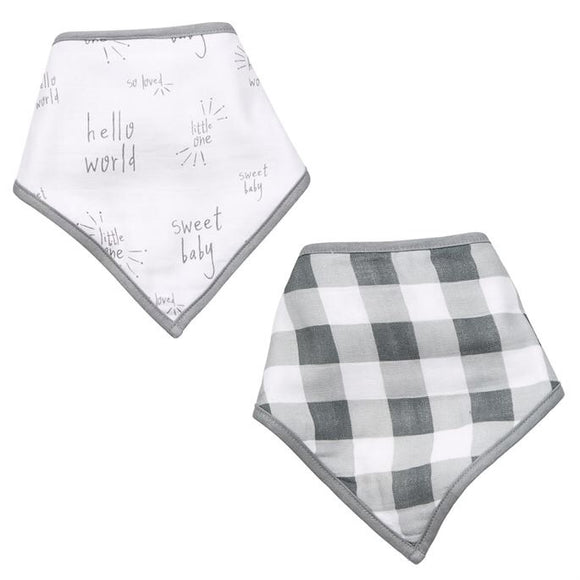 Muslin Gingham/Plaid Bib Set
