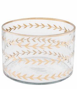 Gold Etched Glass Bowl