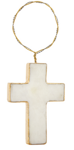 Marble Cross Ornament