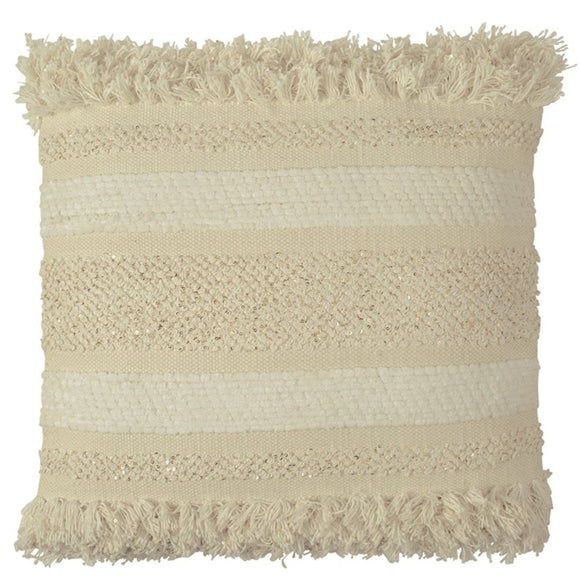 White Fringe Sequin Pillow