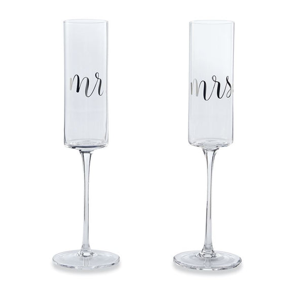 Set - Mr and Mrs Champagne Glasses