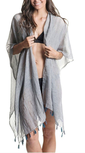 Wrap-Cotton Tassel  Dark Gray