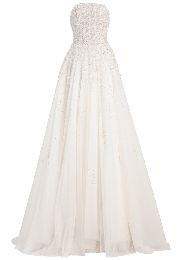 Long strapless beaded tulle dress