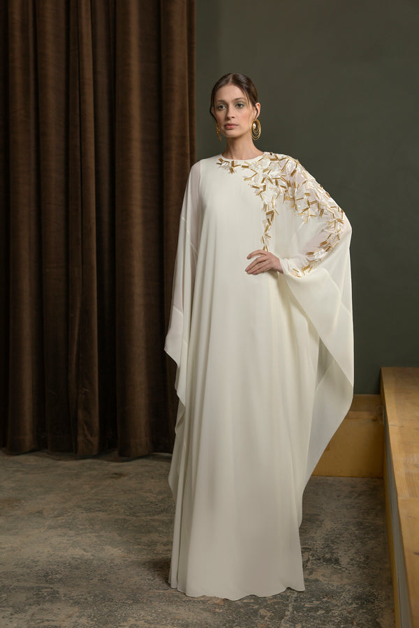 Long beaded,	crepe georgette kaftan
