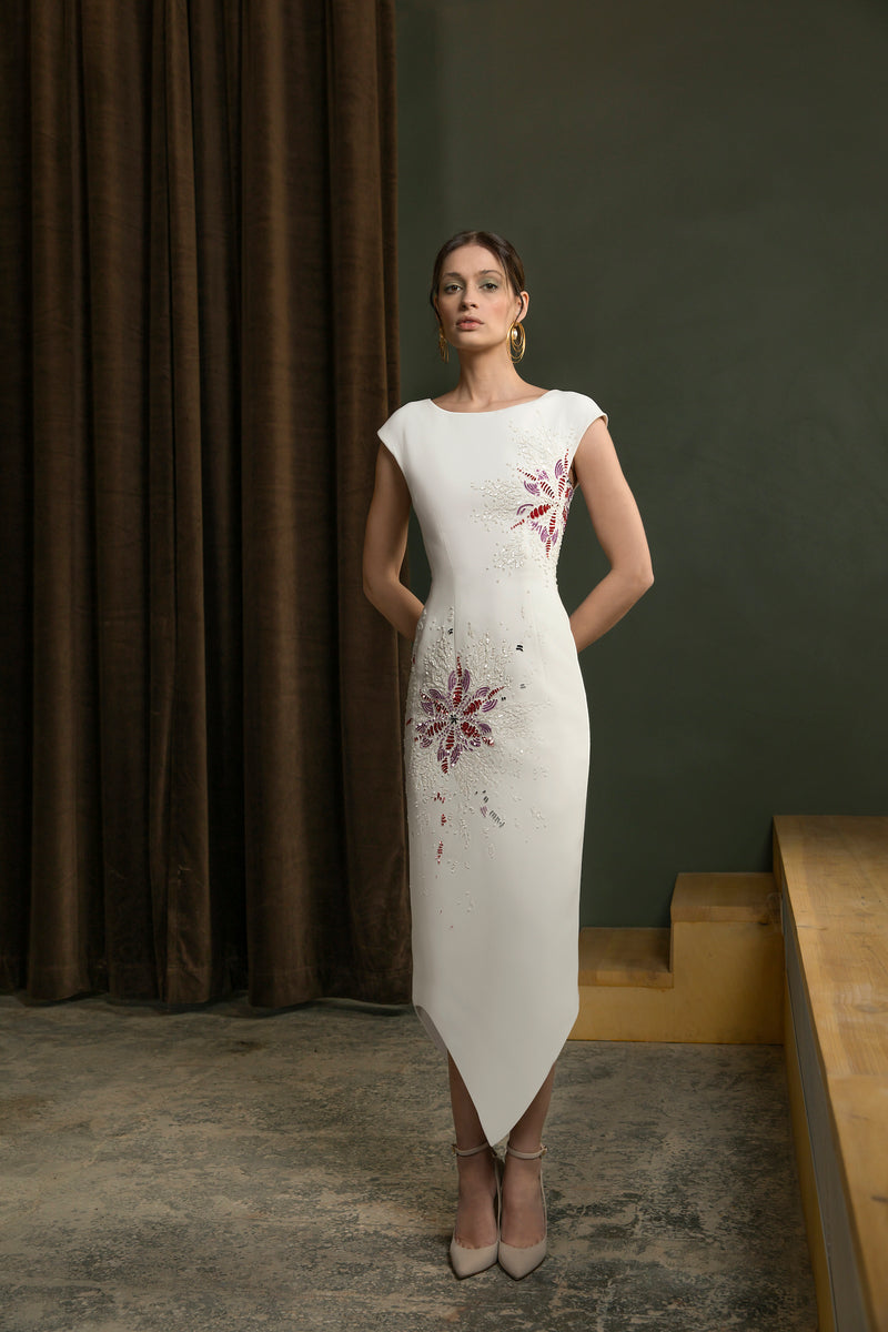 Sleeveless, beaded crepe marocain dress