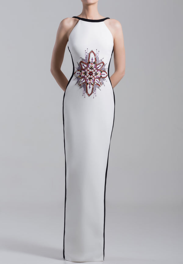 Long sleeveless, straight beaded, crepe marocain dress with straps on shoulders