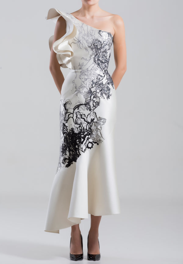 One	shoulder, mikado embroidered dress