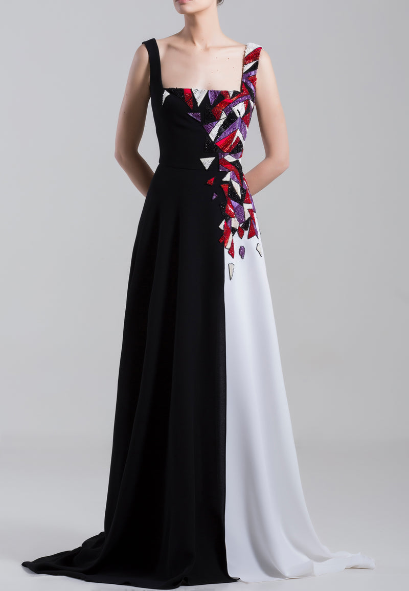 Long sleeveless black and white, beaded crepe georgette dress