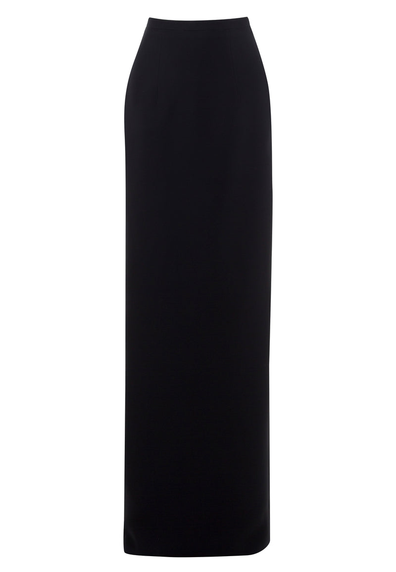 Long straight, crepe marocain skirt