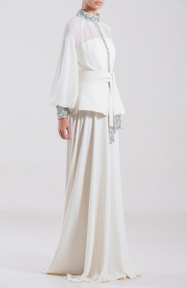 Crepe georgette, long kaftan dress with dotted beaded details and a beaded crepe belt.