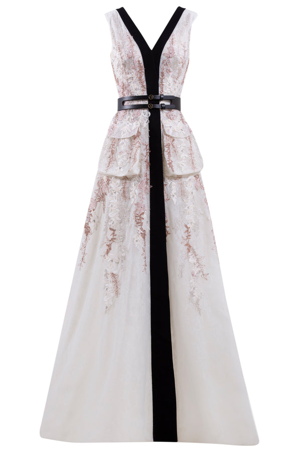 Long, sleeveless lace embroidered dress with black crepe bias, paired with a signature black leather belt.