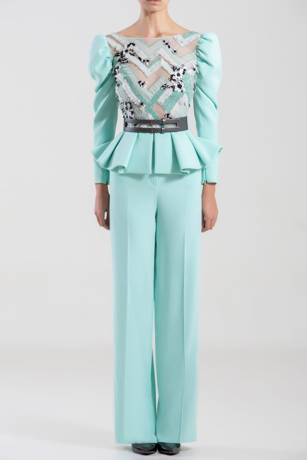 Crepe marocain Blue Tint beaded top and matching crepe pants, paired with a metallic grey leather belt.