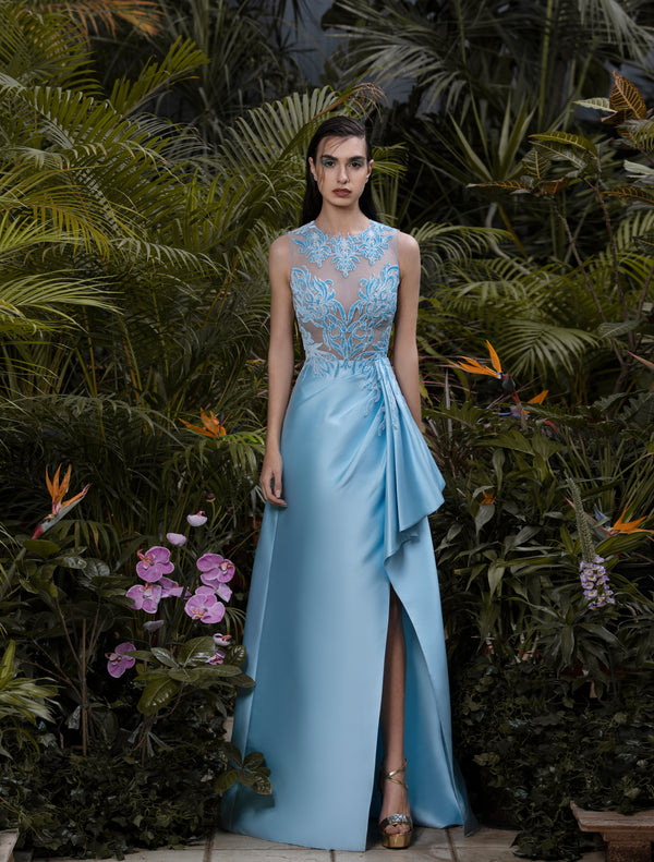 Long Aquamarine Mikado dress with a velvet embroidered tulle, sleeveless top.