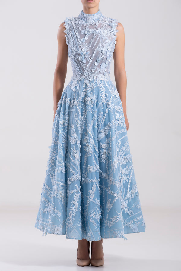 Short Aquamarine tulle embroidered, sleeveless dress.