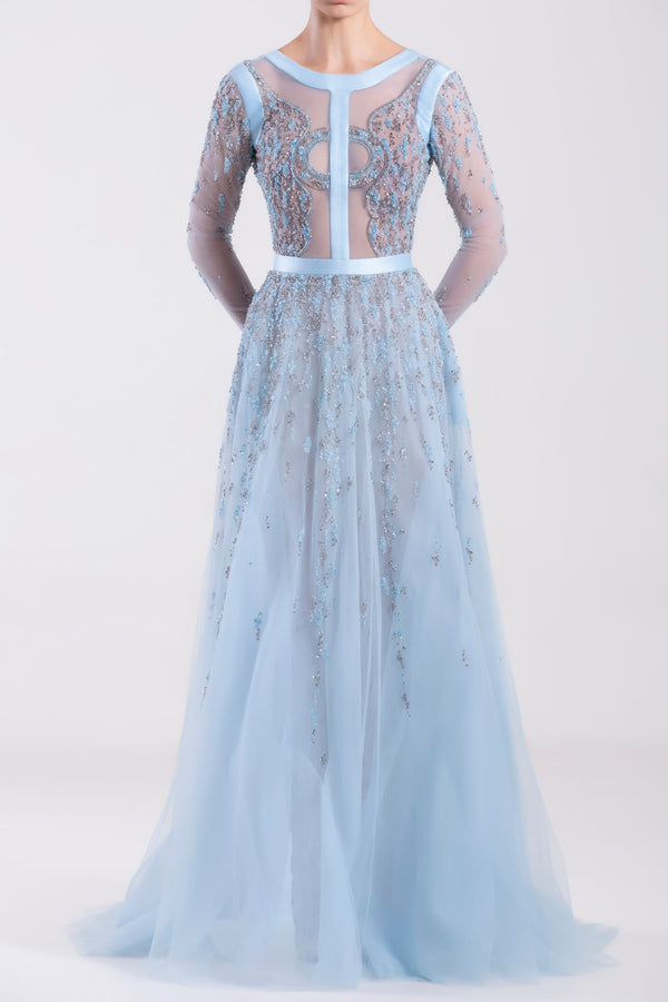 Long Aquamarine tulle beaded dress with Mikado bias on the top.