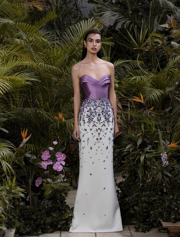 Strapless beaded off-white dress with a Concord Grape Mikado pleated top, paired with a metallic grey leather belt.