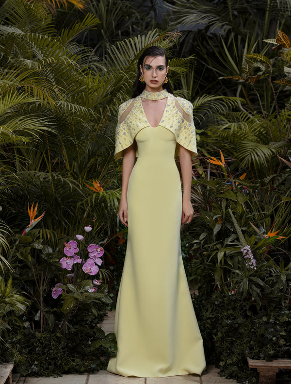 Long crepe marocain Pastel Yellow, mermaid dress with a beaded short cape.