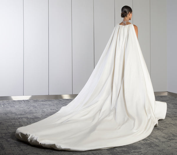 Long plain satin dress with cape