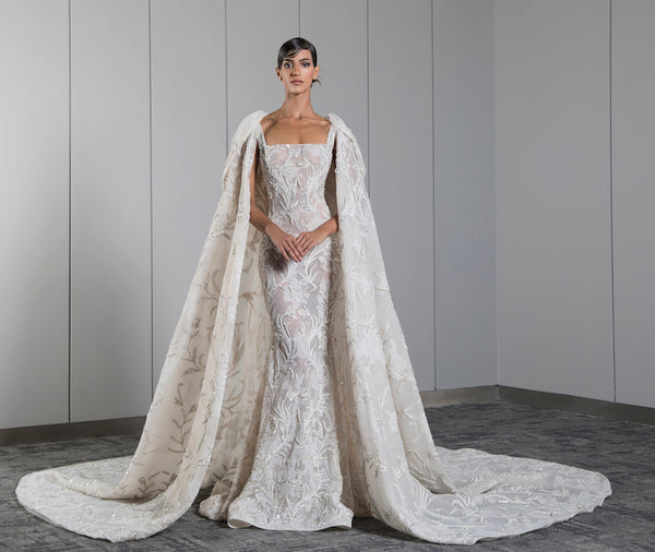 Fully beaded ivory dress with a cape