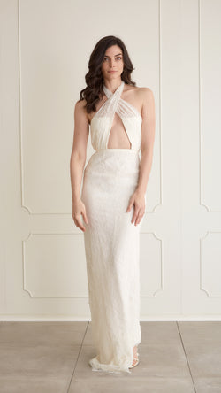 Houghton - Lace Halter Gown, US6