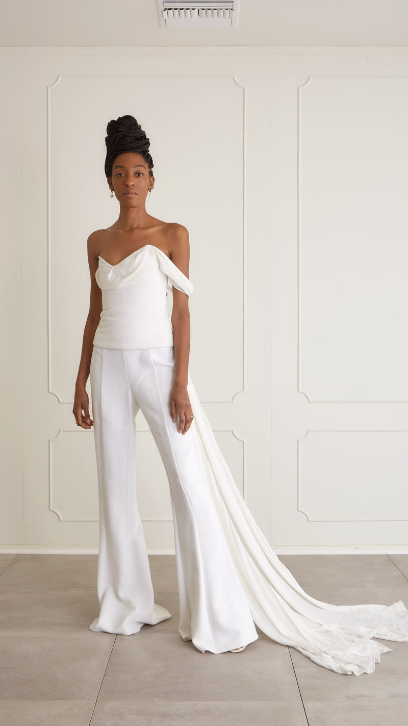 Cushnie - Asymmetrical top & Wide Leg pants, US6