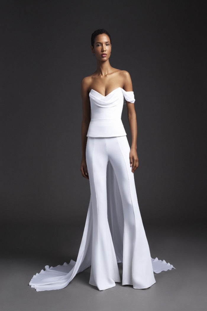 Cushnie - Strapless Top with Georgette Train