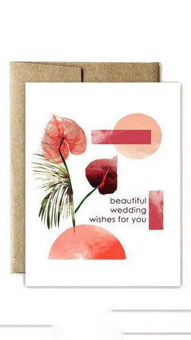 Anthurium Flowers Wedding Card